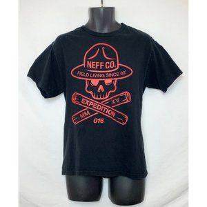NEFF Black T Shirt Red Skull w Ranger Hat